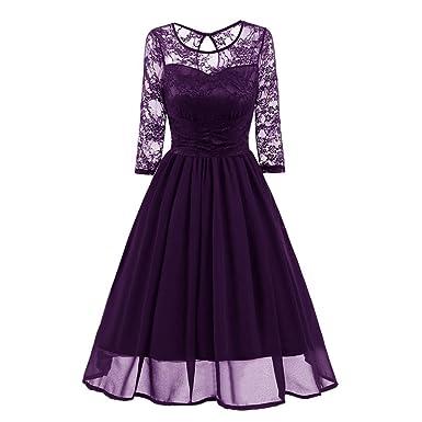 Damen Abendkleid Elegant Cocktailkleid Vintag Kleider 3/4 Arm mit ...
