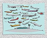 asddcdfdd Airplane Decor Tapestry, Planes Fying in Air Aviation Love Airport Helicopters and Jets Cartoon, Wall Hanging for Bedroom Living Room Dorm, 80 W X 60 L Inches, Multicolor