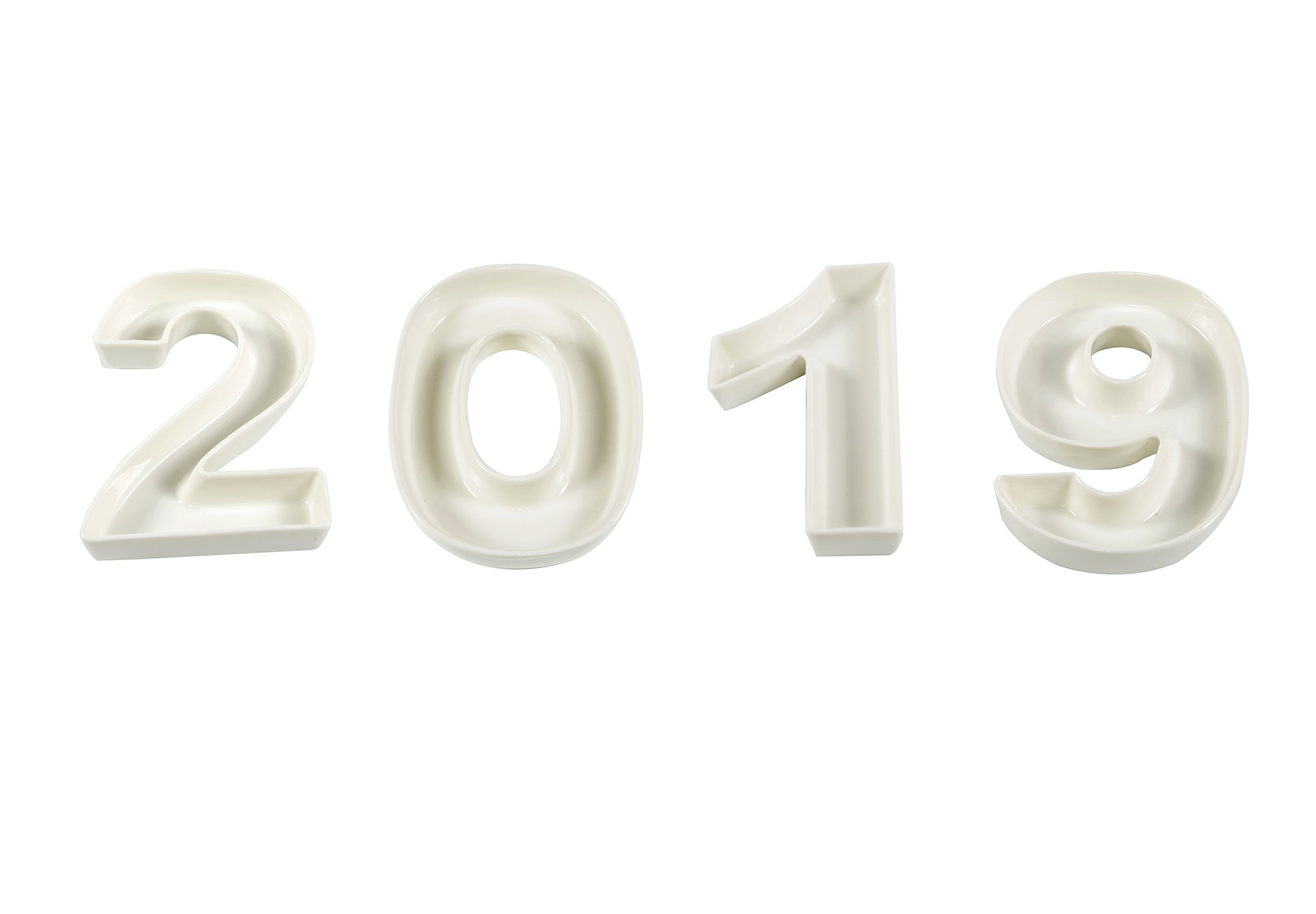White Ceramic Number Dish for Table Decoration, Number 2019