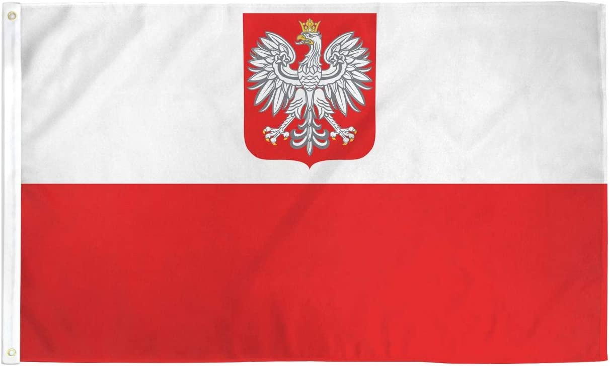OLD POLAND FLAG 2X3 POLISH FLAGS WHITE EAGLE CREST F381