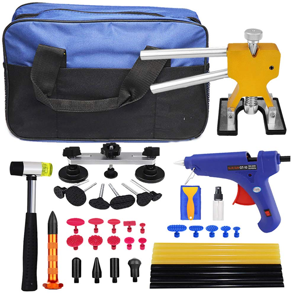 JMgist Paintless Dent Repair Tool Kits Dent Lifter Bridge Glue Puller Tabs Rubber Hammer with Tool Bag for Auto Body Ding Removal