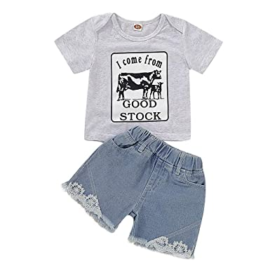 a7fb81fde Amazon.com: Baby Boys Girls Clothes Set Short Sleeve Letter Print Comfy T- Shirt Lace Denim Shorts 2Pcs: Clothing