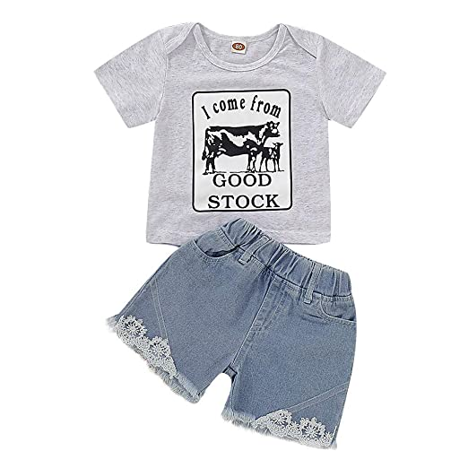 ❤️ Little Kids Girls Clothes Sets 2pc Solid Irregular Tops+Jeans Pants Audio & Video Accessories Audio & Video Accessories