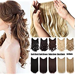 """S-noilite Women Rubber Band Full Head Hair Extensions 24"""" 125G Curly Wave Straight Brown Blonde Black Natural Synthetic Wire In Hair extension No Clip No Tape (24inches, Bleach Blonde Straight)"""