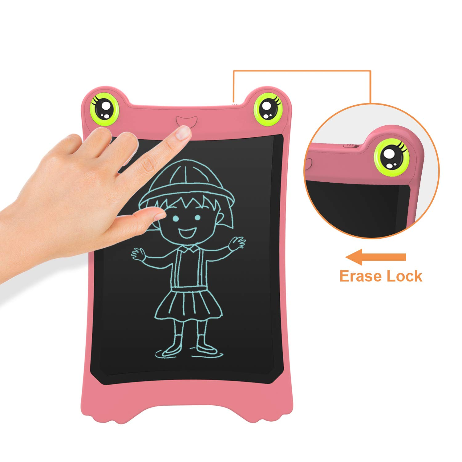 NEWYES 8.5 Inch LCD Writing Tablet Updated Frog Pad Children Electronic Doodle Board Jot Digital E-Writer Kids Scribble Toy with Lock Function Pink by NEWYES (Image #5)