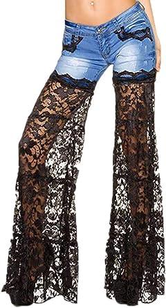 Hellomiko Mujer Blanco Negro Encaje Jeans Rotos Pantalones De Mezclilla Casual Patchwork Jean Pantalones Amazon Es Ropa Y Accesorios