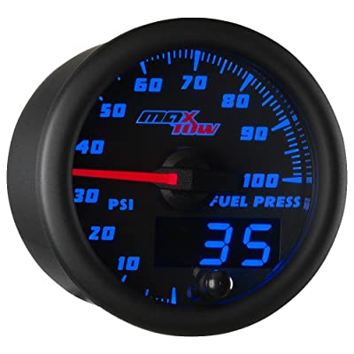"MaxTow Double Vision 100 PSI Fuel Pressure Gauge Kit - Includes Electronic Sensor - Black Gauge Face - Blue LED Illuminated Dial - Analog & Digital Readouts - for Trucks - 2-1/16"" 52mm: Automotive"