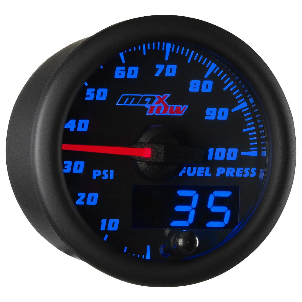 MaxTow Double Vision 100 PSI Fuel Pressure Gauge Kit - Includes Electronic Sensor - Black Gauge Face - Blue LED Illuminated Dial - Analog & Digital Readouts - for Trucks - 2-1/16'' 52mm
