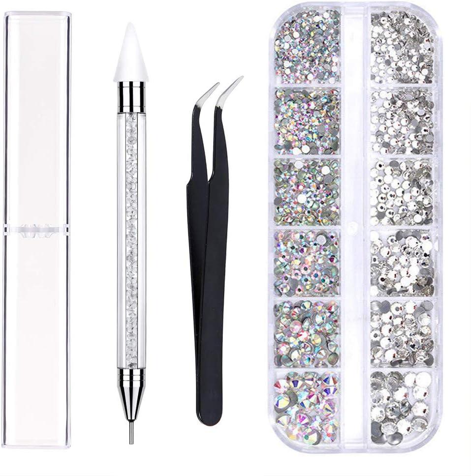 Kungfu Mall - Juego de cristales para uñas en 4 tamaños, cristales transparentes y diamantes de imitación, incluye pinza y bolígrafo de puntos, para manualidades en uñas y cara