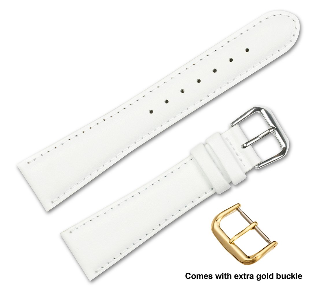 deBeer brand Smooth Leather Watch Band (Silver & Gold Buckle) - White 17mm