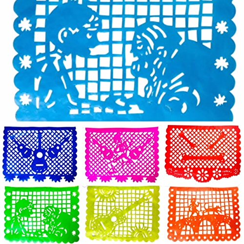 Coco Inspired Papel Picado Banners- Rainbow Horizontal Large
