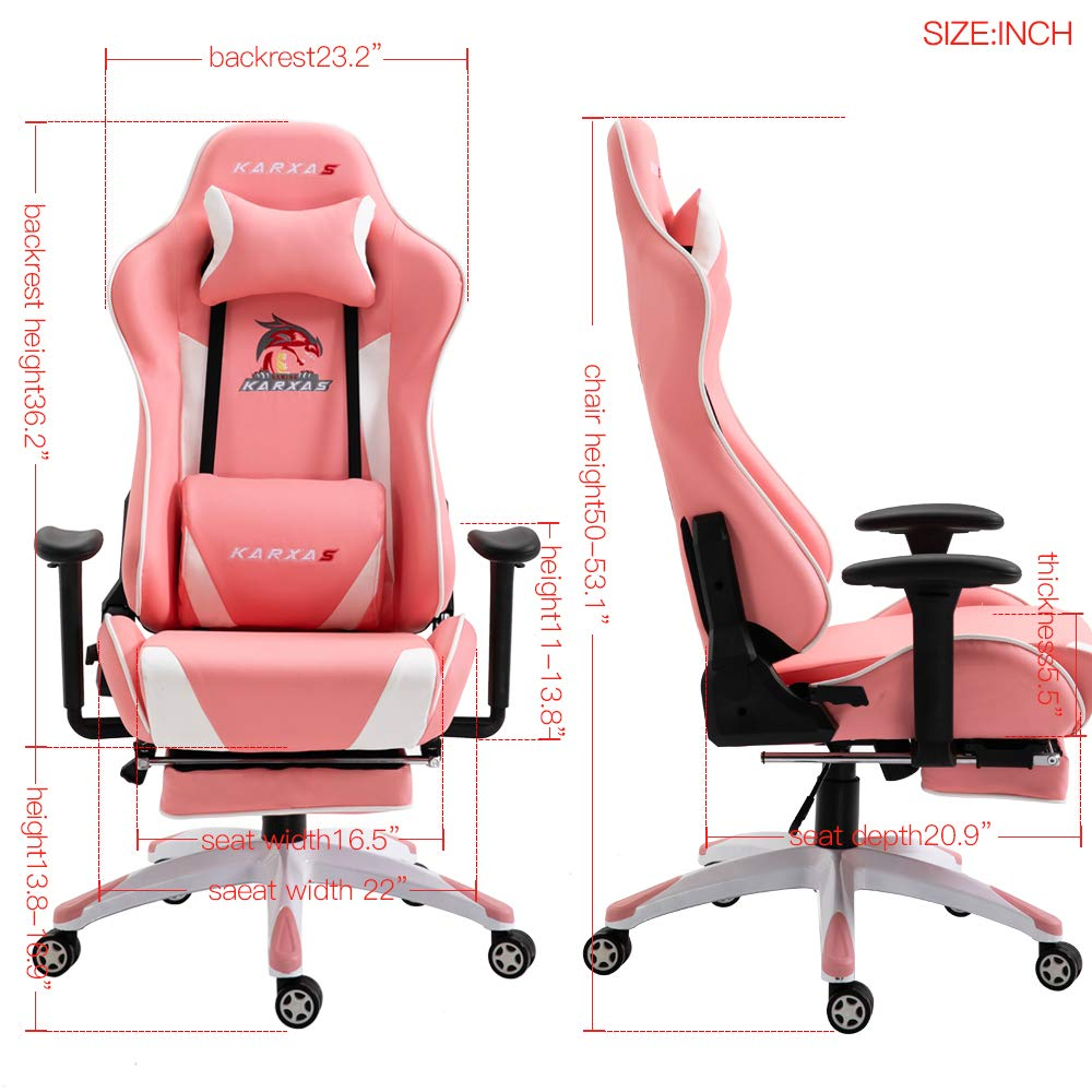 KARXAS Ergonomic Gaming Chair High-Back Racing Style Gamer Chair PU Leather  Height Adjustable Computer Desk Chair with Massage Lumbar Recliner Footrest  and Headrest(Pink): Amazon.in: Home & Kitchen