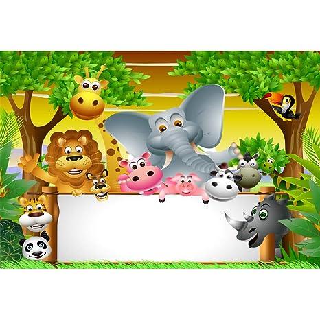 Cassisy 2,2x1,5m Vinilo Cumpleaños Telon de Fondo Animales del Bosque Marco De Fotos Plantas Tropicales Vista del Sol Fondos para Fotografia Party ...