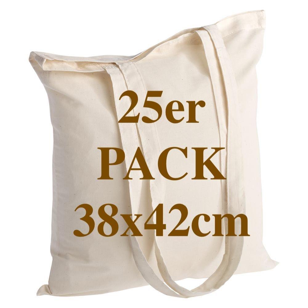 Qualität Baumwolltasche Jutebeutel 10 Stück 145 Gramm Größe 38x42 cm langen Henkel 70 cm Natur 100% Baumwolle. Das beliebteste Modell. ECO BAGS