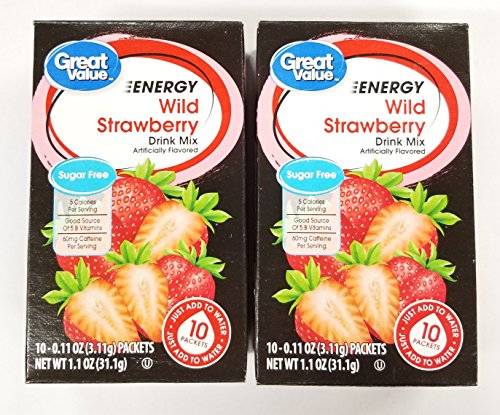 Great Value Sugar Free, Low Calorie ENERGY Wild Strawberry Drink Mix (Pack of 2)