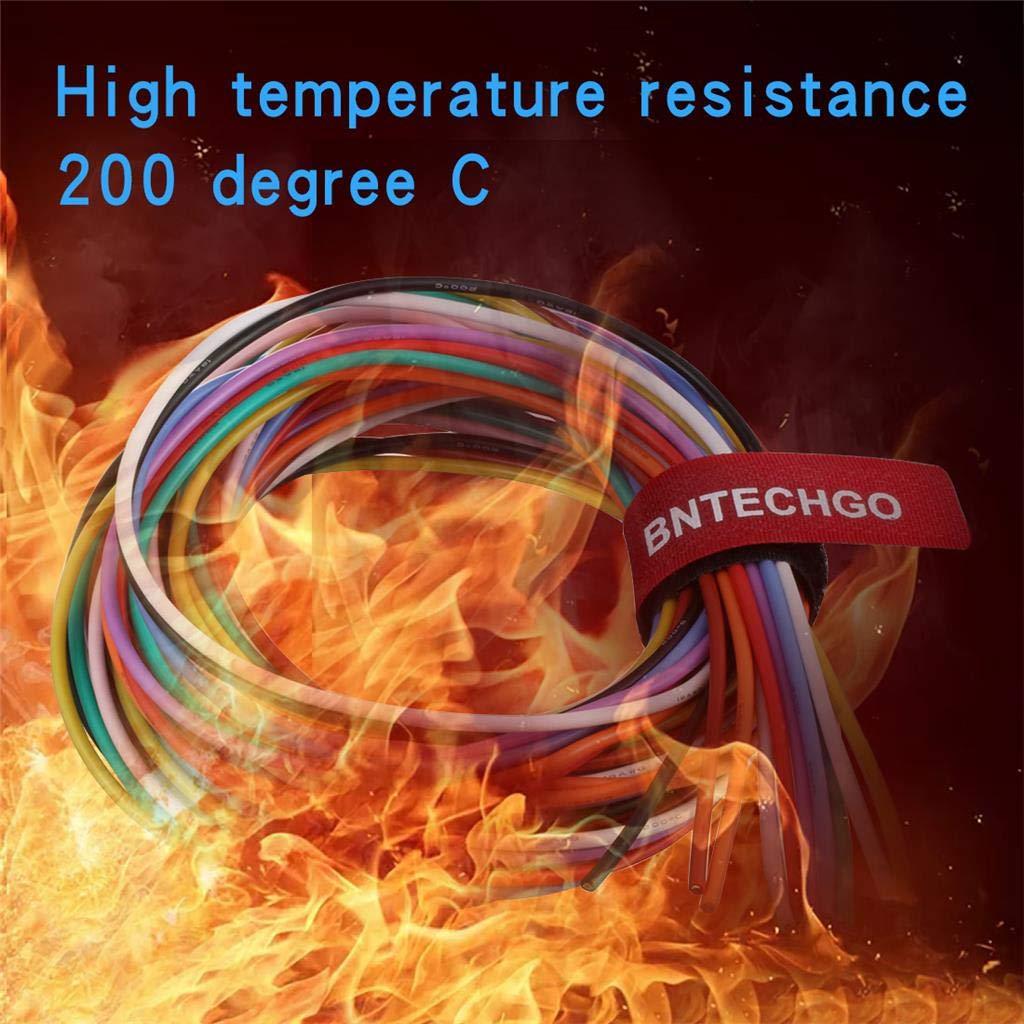 r/ésiste aux fortes temp/ératures calibre 18 souple et flexible hautement efficace BNTECHGO Fil de cuivre 150 brins avec gaine en silicone