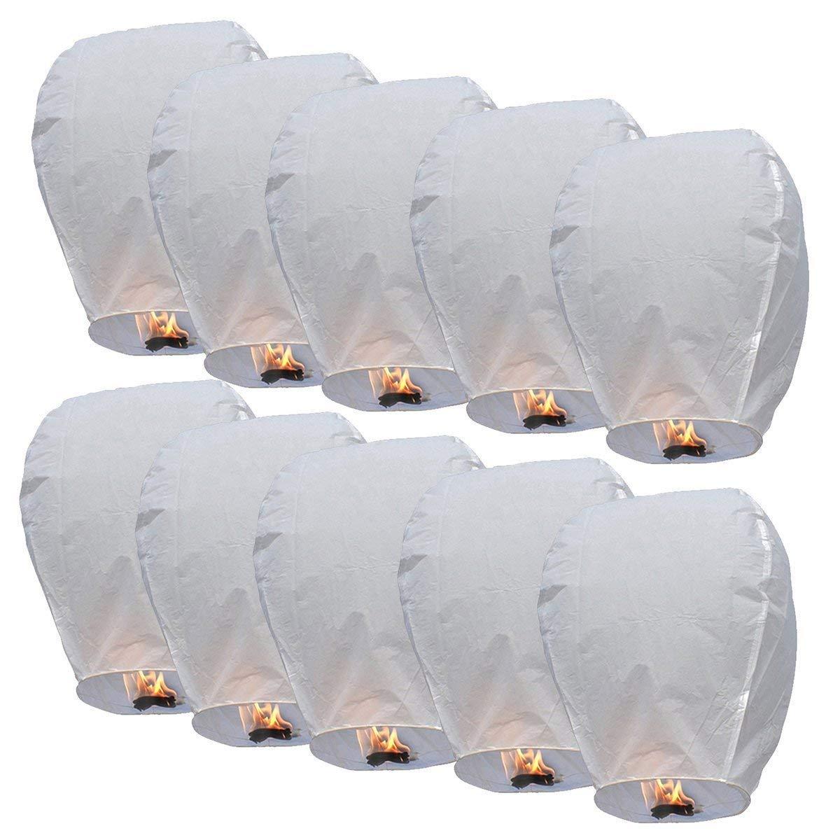 Lanternes Chinoises Kong Ming en Papier Respectueuse de l'Environnement Veille de Noël Nouvel An Mariage Fêtes Lot de 10