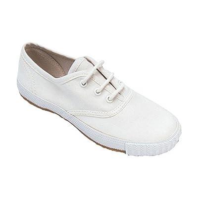 Mirak Girls Morris Lace-Up Textile Plimsoll Sneaker Shoe White (Med)