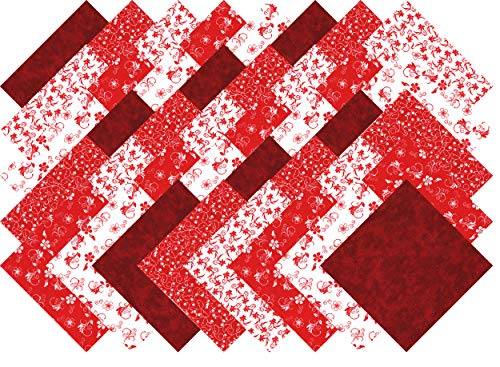 (Red and White Collection 40 Precut 5-inch Quilting Fabric Charm)