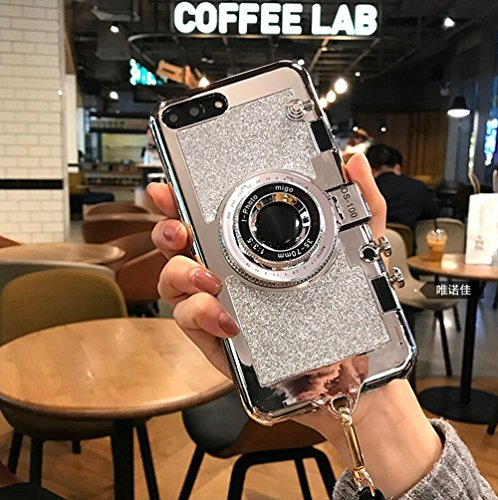 UCLL New 3D Vintage Style Bling Camera Design Soft Cover For 5.5 iPhone 7plus 8 Plus with Strap Rope and a Screen protector (silver)