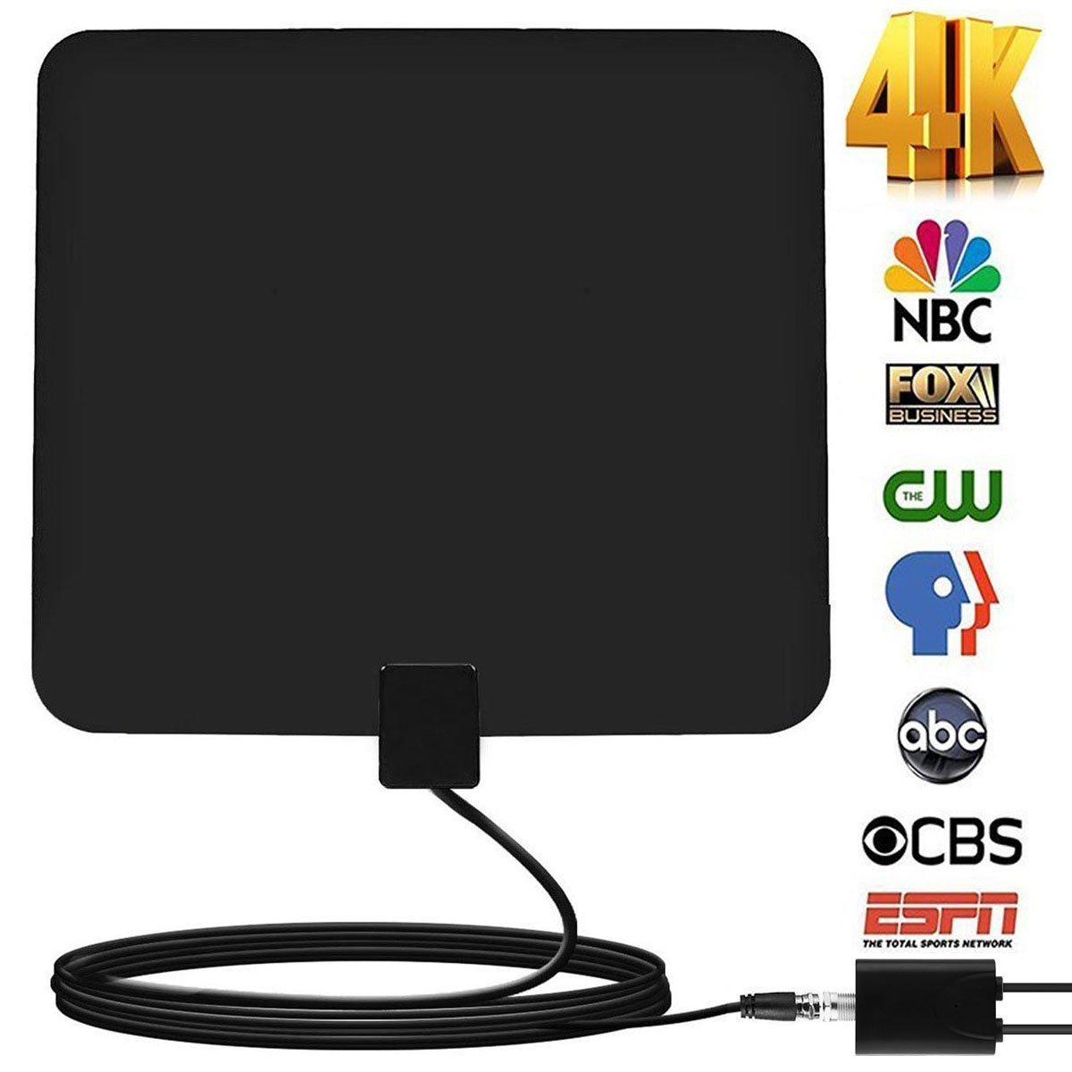 grell 60-100Miles Indoor HDTV Antenna - Upgraded Digital TV Antenna with Amplifier TV Antenna Indoor High Reception for Free Channels Gain 4K 1080P with 12ft Coax Cable