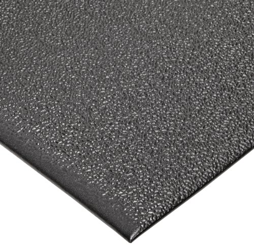 "NoTrax T41 Heavy Duty PVC Safety/Anti-Fatigue Comfort Rest Pebble Foam, For Dry Areas, 2' Width x 5' Length x 9/16"" Thickness, Coal"
