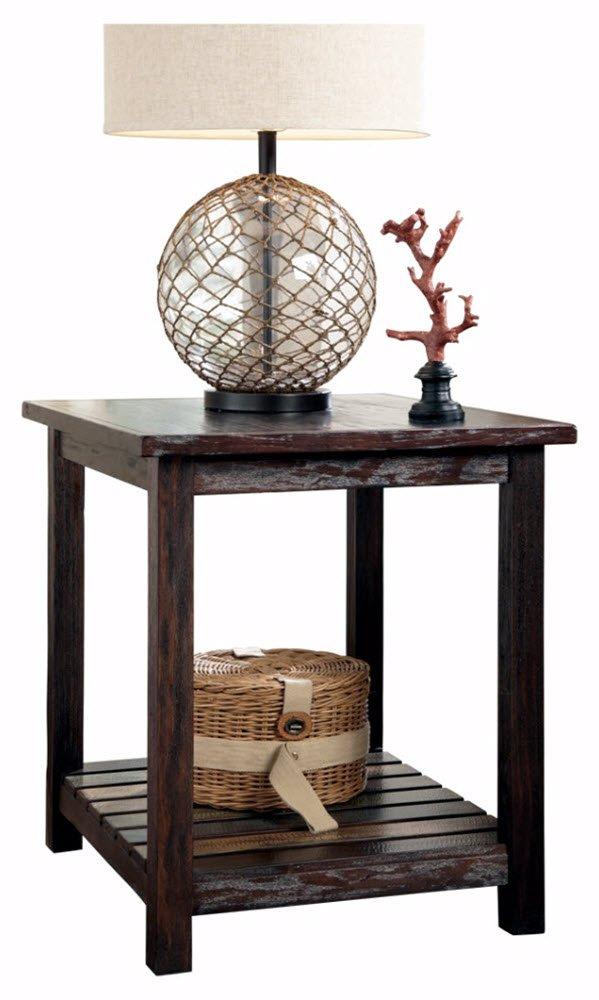 Ashley Furniture Signature Design - Mestler Chairside End Table - Rectangular - Dark Brown