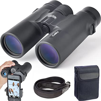 Gosky 10x42 Binoculars Adults, Compact HD Professional Binoculars Bird Watching Travel Stargazing Hunting Concerts Sports-BAK4 Prism FMC Lens Phone Mount Strap Carrying Bag