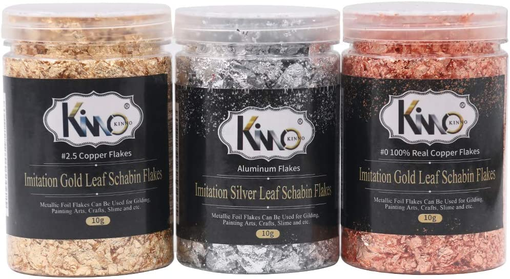KINNO Gilding Flakes - Color 2.5 Imitation Gold, Silver, Color 0 Real Copper, 3 Bottles Metallic Foil Flakes for Painting Arts and Crafts,Nail Art