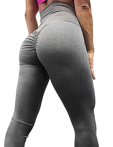 db8cc2b180 AGROSTE Women s High Waist Scrunch Butt Yoga Pants Workout Ruched Butt  Lifting Stretchy Leggings Hip Push