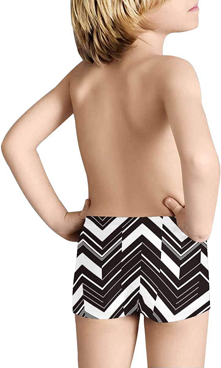 INTERESTPRINT Boys Pattern in Zigzag Black and White Performance Boxer Briefs 5T-2XL