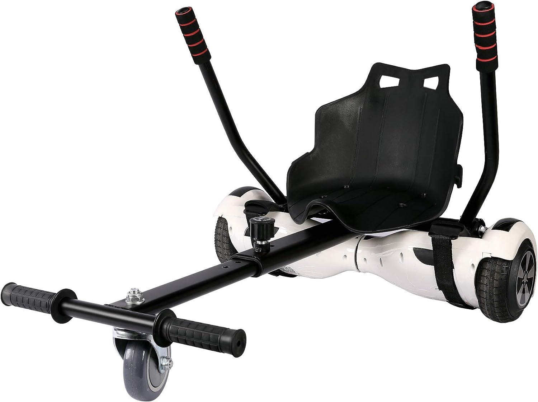 Sfeomi Hoverkart Silla para Hoverboard Electrico Hover Kart Ajustable para Patinete Eléctrico Asiento Kart Adaptarse a 6.5 8 10 Pulgadas Hoverboard Go Kart con Asiento para Niños y Adulto