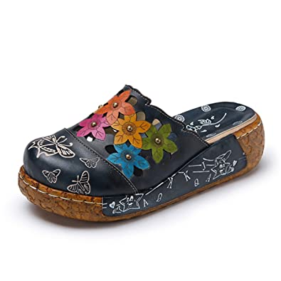 Socofy Damen Sandalen, Sommer Leder Sandalen Damen Pantoletten Slip-Ons  Vintage Slipper Pumps Zehentrenner 9ac5208180