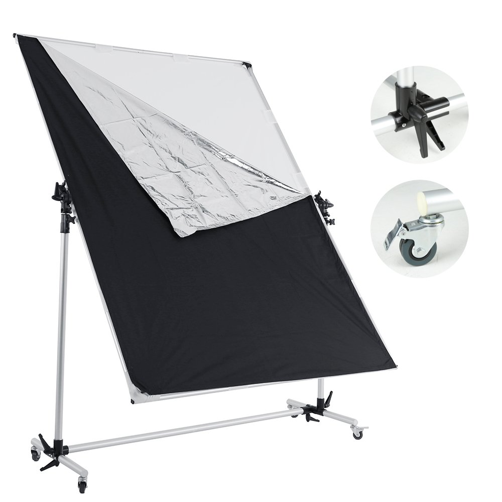 Falcon Eyes Pro Studio Solutions 150cm x 200cm (59in x 78.7in) Sun Scrim - Collapsible Frame Diffusion & Silver/Black Reflector Kit with Pulley can be moved Handle