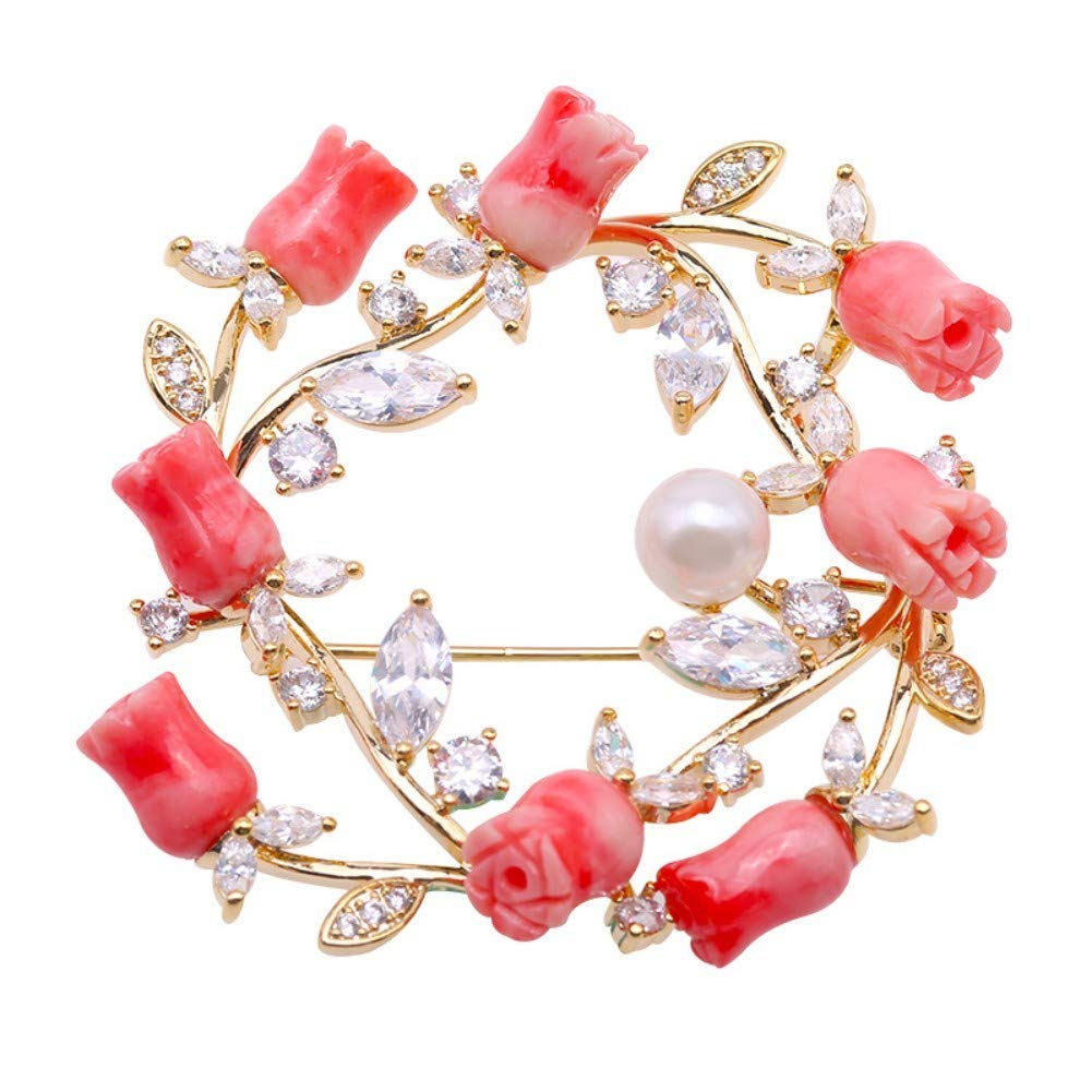 JYX Pearl Coral Brooch 6,5mm White Freshwater Cultured Pearl and Coral Brooch Pin for Women Jewelry Christmas Brooches