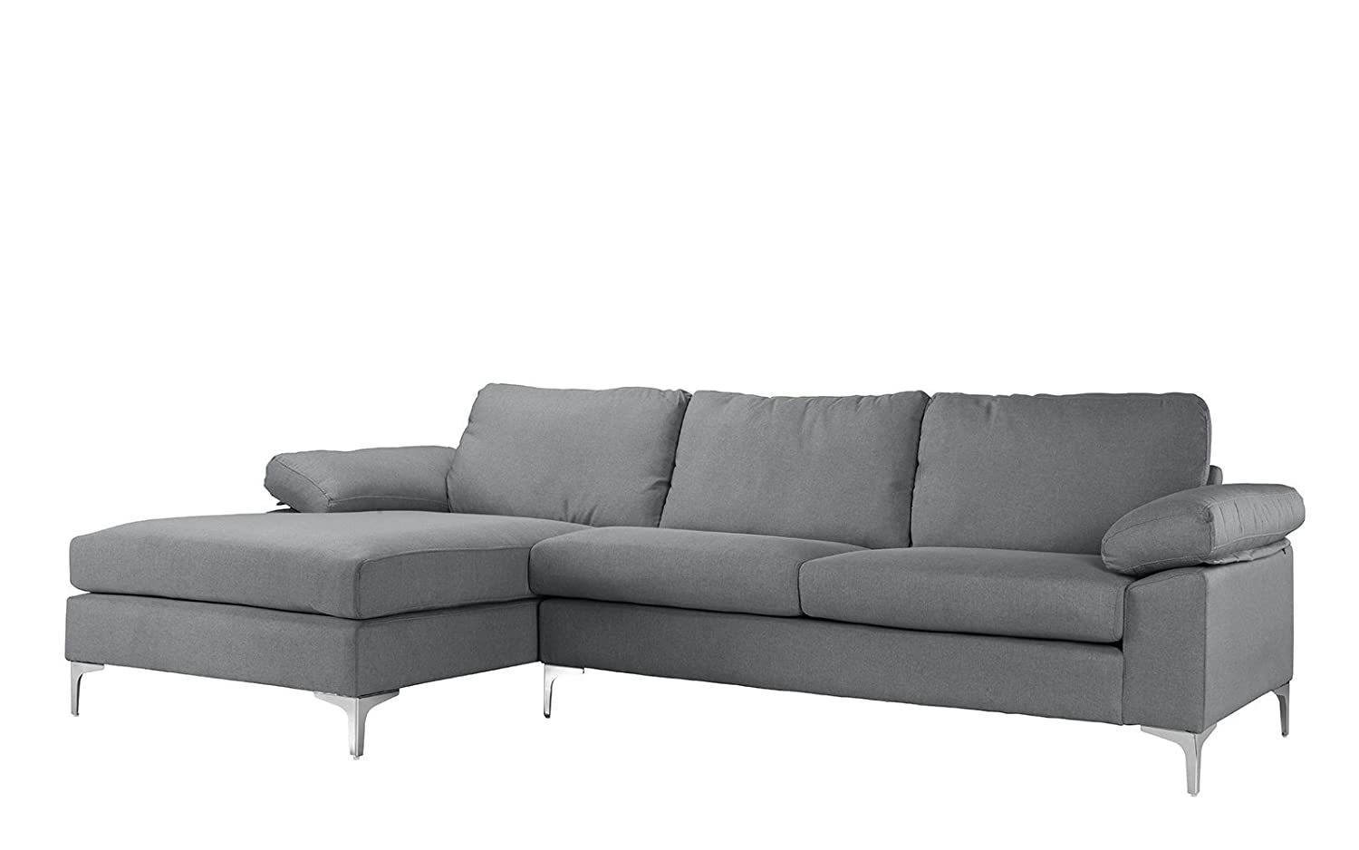 Amazon.com: Modern Large Linen Fabric Sectional Sofa, L Shape Couch With  Extra Wide Chaise Lounge (Light Grey): Kitchen U0026 Dining
