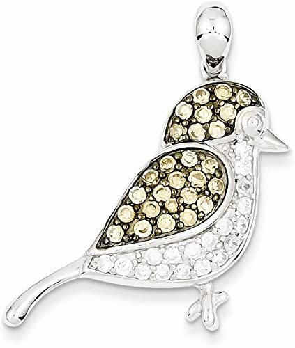 Sterling Silver Pendant w//Chain Necklace CZ Champagne Cubic Zirconia