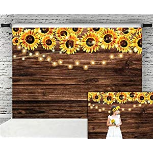 Fanghui 7x5ft Sunflower Wooden Floor Backdrop Baby Shower Wedding Birthday Party Banner Decor Supplies Sunflower Theme Party Photography Background Photo Booth Props