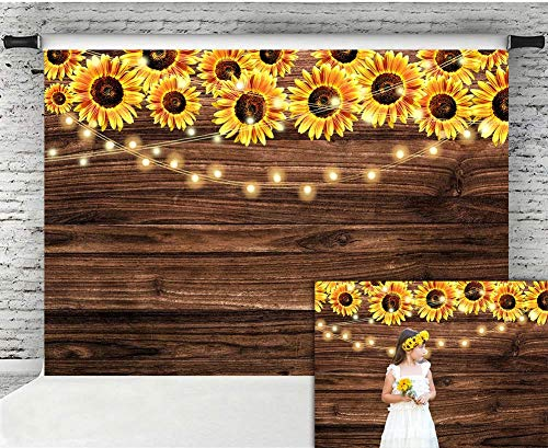 - Fanghui 7x5ft Sunflower Wooden Floor Backdrop Baby Shower Wedding Birthday Party Banner Decor Supplies Sunflower Theme Party Photography Background Photo Booth Props