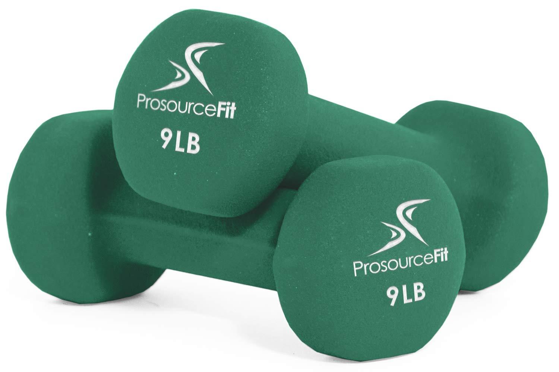 ProsourceFit Set of 2 Neoprene Dumbbell Coated for Non-Slip Grip, Green-9lb