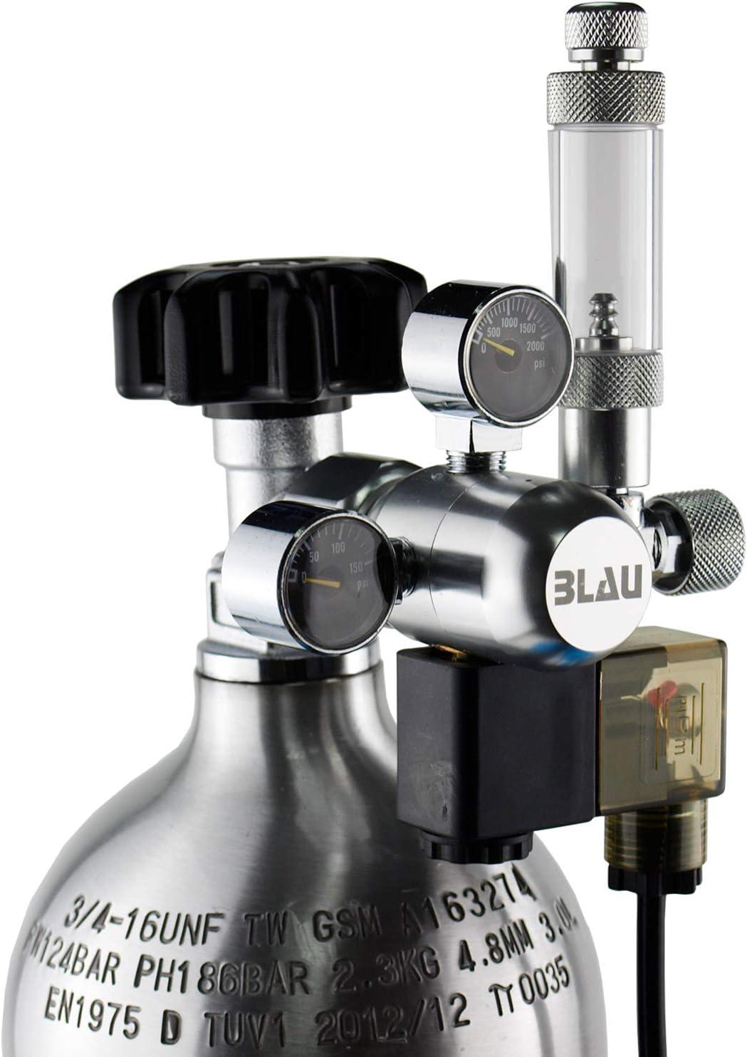 Blau Aquaristic Regulador Compacto con Válvula Solenoide Y Contador De Burbujas