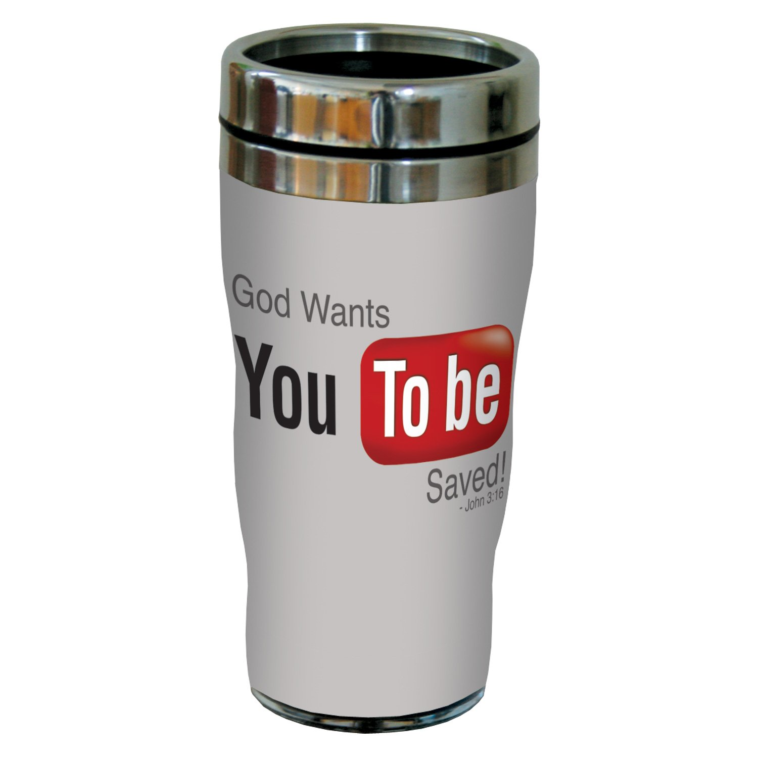 Tree-Free Greetings sg24366 YouTube-You to be Saved: John 3:16 Sip 'N Go Stainless Steel Lined Travel Tumbler, 16-Ounce