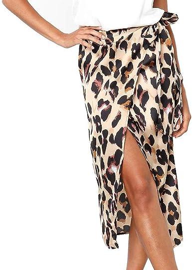 QIjinlook Falda Midi Leopardo Medio Cuerpo Bodycon Mujer/Cinturón ...