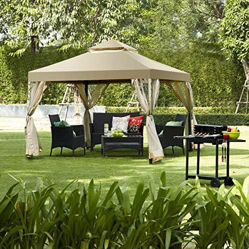 tangkula Gazebo 2-Tier 10 x10 al aire libre Patio Gazebo toldo tienda de campaña con completamente cerrada): Amazon.es: Jardín