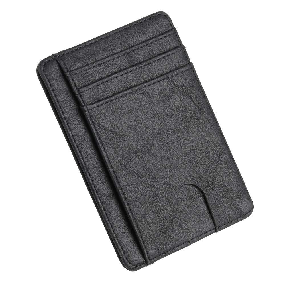 Credit Card Wallet Minimalist Genuine Leather Business Card Holder Front Pocket Wallet Card Holder (Black)