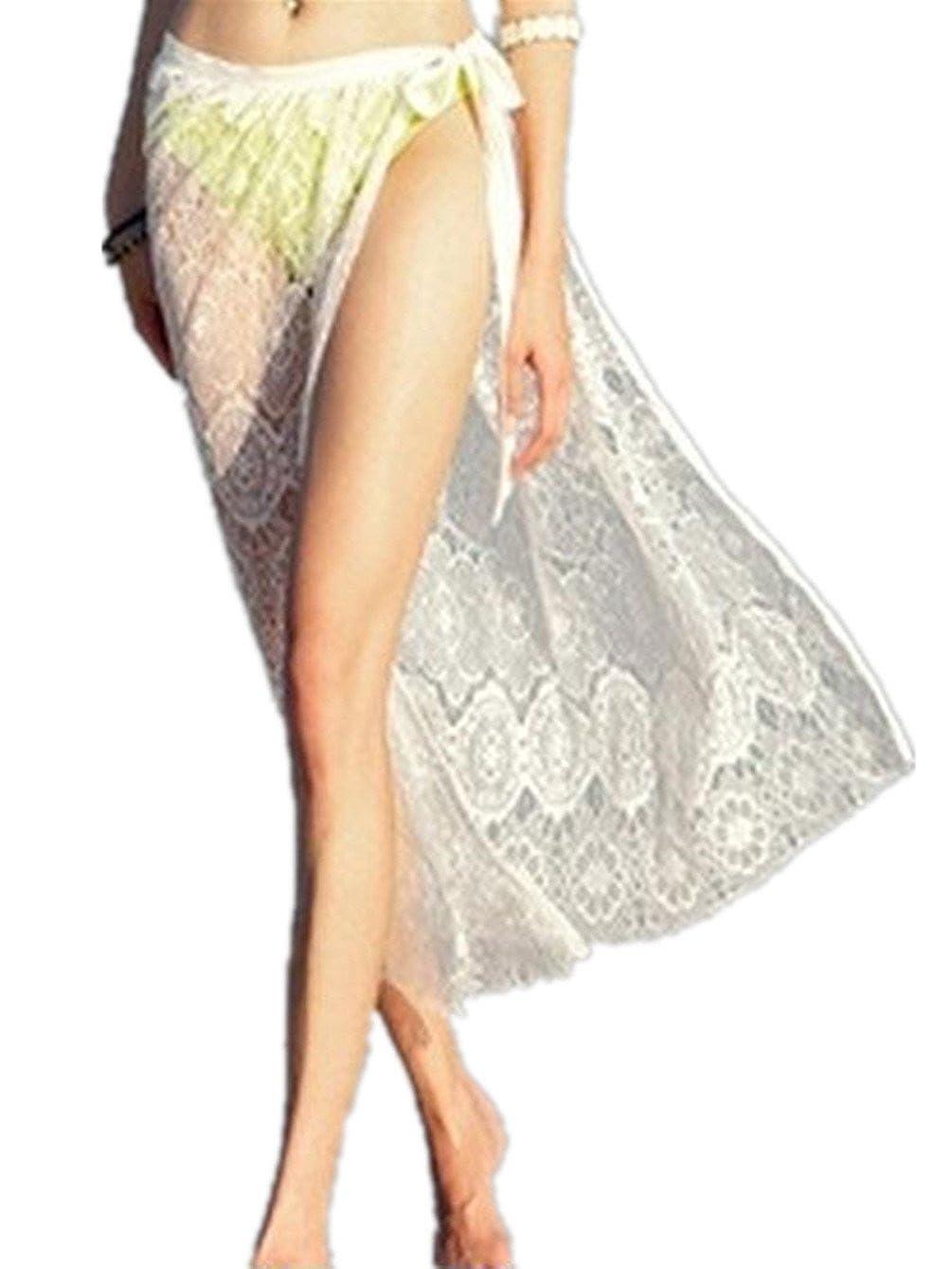 Q&Y Woemen's Mesh Split Sarong Bikini Swimwear Beach Dress Lace Swimsuit Wrap Skirt 01047