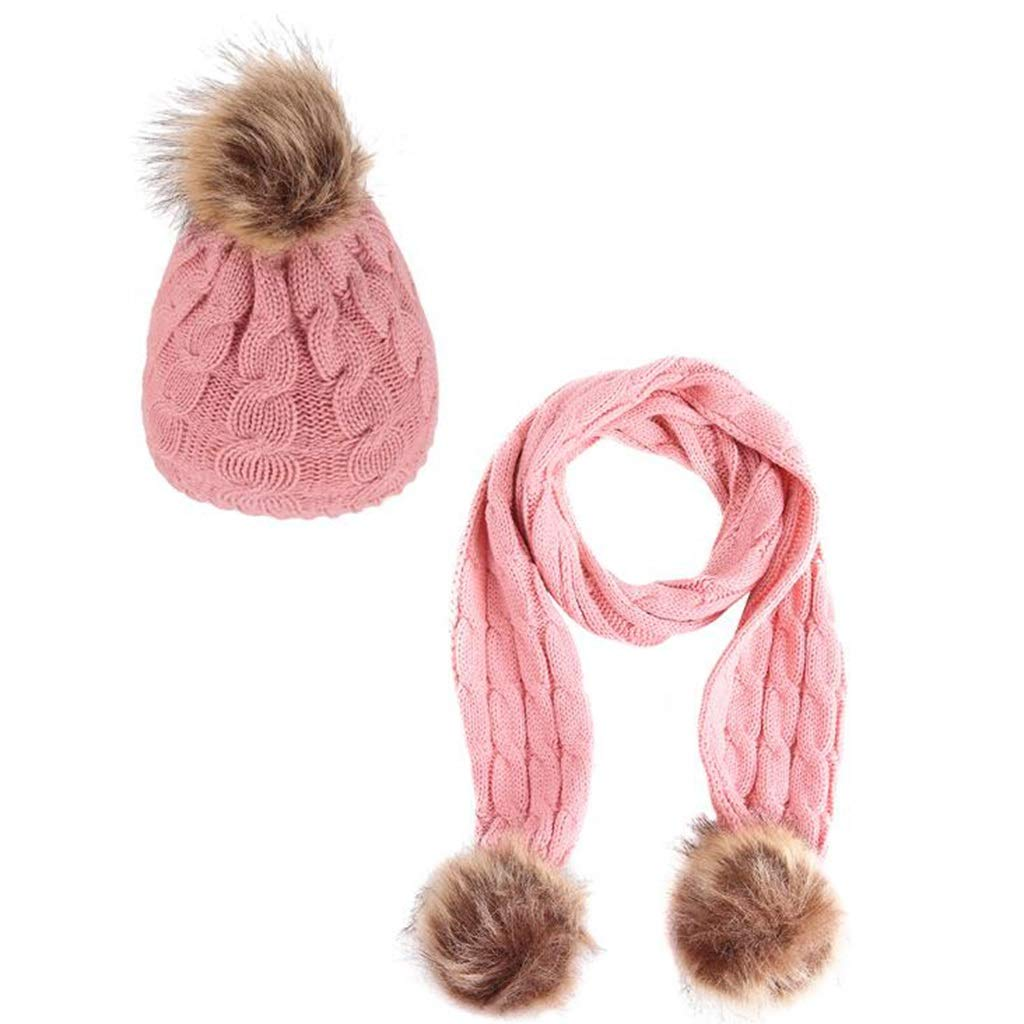 666c04f19d1 Amazon.com  Scarf Hat Sets,Children Winter Keep Warm Breathable Simple  Beanies,one Size More Colors (Color   Pink)  Garden   Outdoor