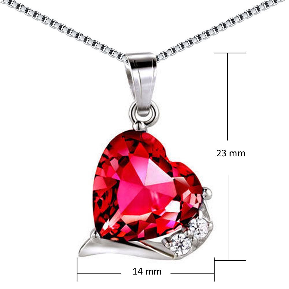 Mabella Sterling Silver Heart Jewelry Sets 7 CTW Simulated Ruby Pendant Earrings Set, Gifts for women by MABELLA (Image #3)