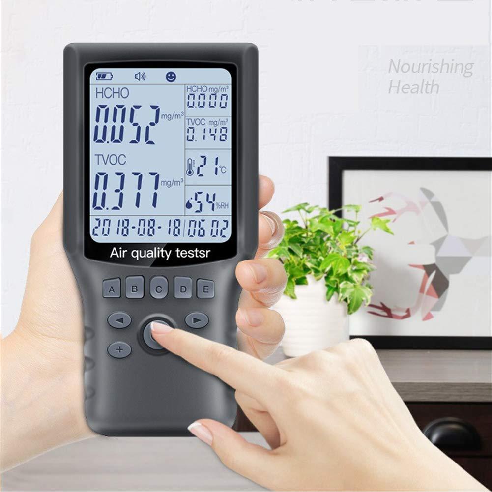 LDRAGON Detector del formaldehído del Monitor de la Calidad del Aire (HCHO), TVOC/Temperatura y Humedad Alta precisión analizador de Gas multifunción con ...
