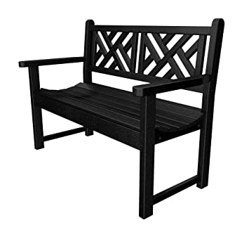 POLYWOOD Outdoor Furniture Chippendale 48 Inch Bench, Black Recycled  Plastic Materials